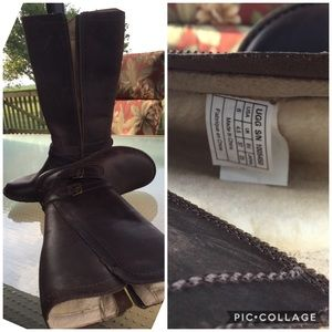 NWOT Ugg Tall Soft Leather Sheepskin Lined Boots 6